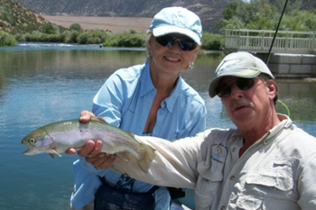 Another pretty rainbow trout gets released back in to The San Juan River.